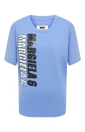 Женская хлопковая футболка MM6 голубого цвета, арт. S52GC0177/S23588 | Фото 1