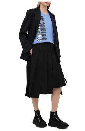 Женская хлопковая футболка MM6 голубого цвета, арт. S52GC0177/S23588 | Фото 2