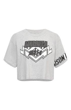 Женская хлопковая футболка MM6 серого цвета, арт. S52GC0176/S23588 | Фото 1