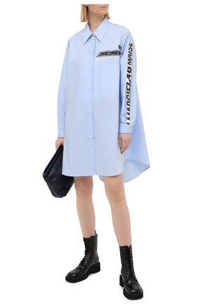 Женское хлопковое платье MM6 голубого цвета, арт. S52CT0609/S47294 | Фото 2