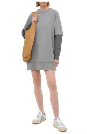 Женское хлопковое платье MM6 серого цвета, арт. S52CT0597/S25337 | Фото 2