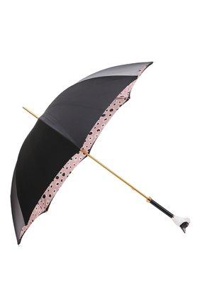 Женский зонт-трость PASOTTI OMBRELLI черного цвета, арт. 189/RAS0 5G569/5/K61 | Фото 2 (Материал: Металл, Текстиль, Синтетический материал)