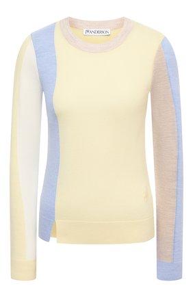 Женский шерстяной пуловер JW ANDERSON желтого цвета, арт. KW0341 YN0008 | Фото 1