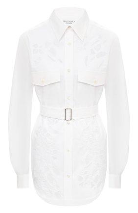 Женская хлопковая рубашка JW ANDERSON белого цвета, арт. SH0085 PG0389 | Фото 1