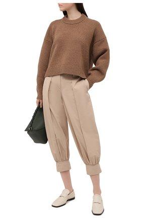 Женские хлопковые брюки JW ANDERSON светло-коричневого цвета, арт. TR0114 PG0217 | Фото 2