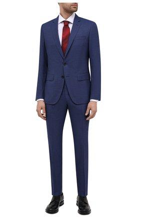 Мужской шерстяной костюм BOSS синего цвета, арт. 50450445   Фото 1 (Материал внешний: Шерсть; Стили: Классический; Костюмы М: Однобортный; Рукава: Длинные)