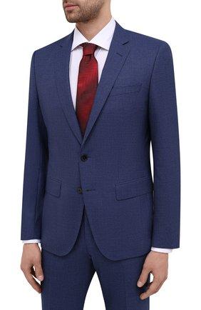 Мужской шерстяной костюм BOSS синего цвета, арт. 50450445   Фото 2 (Материал внешний: Шерсть; Стили: Классический; Костюмы М: Однобортный; Рукава: Длинные)