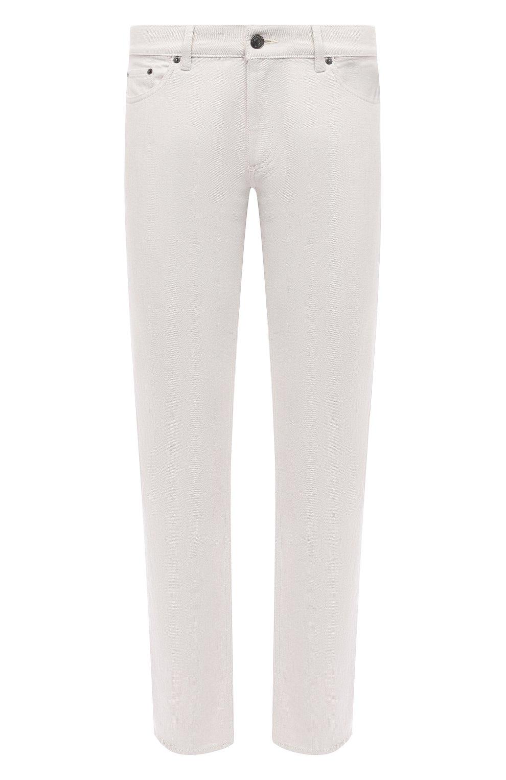 Мужские джинсы ERMENEGILDO ZEGNA белого цвета, арт. UWI60/JS01   Фото 1 (Силуэт М (брюки): Прямые; Кросс-КТ: Деним; Длина (брюки, джинсы): Стандартные; Материал внешний: Хлопок; Стили: Кэжуэл)