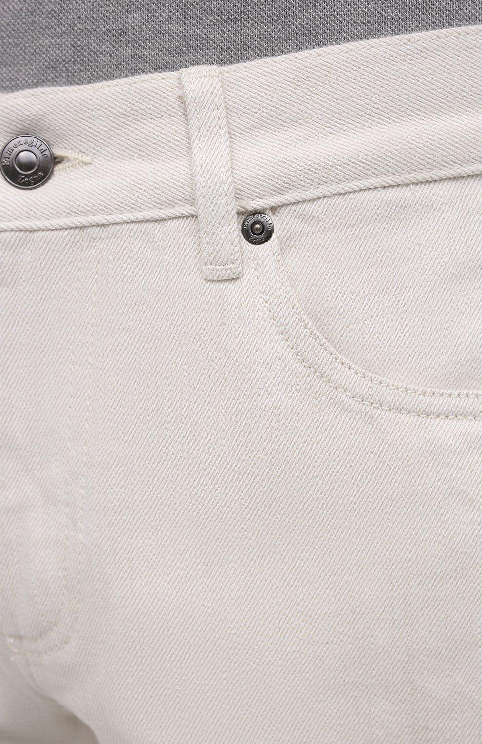 Мужские джинсы ERMENEGILDO ZEGNA белого цвета, арт. UWI60/JS01   Фото 5 (Силуэт М (брюки): Прямые; Кросс-КТ: Деним; Длина (брюки, джинсы): Стандартные; Материал внешний: Хлопок; Стили: Кэжуэл)