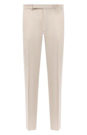Мужские брюки из шерсти и льна ERMENEGILDO ZEGNA светло-бежевого цвета, арт. 915F01/75TB12 | Фото 1