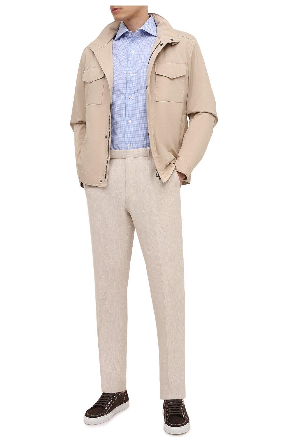 Мужские брюки из шерсти и льна ERMENEGILDO ZEGNA светло-бежевого цвета, арт. 915F01/75TB12   Фото 2 (Материал внешний: Шерсть, Лен; Длина (брюки, джинсы): Стандартные; Случай: Повседневный; Материал подклада: Вискоза; Стили: Кэжуэл)