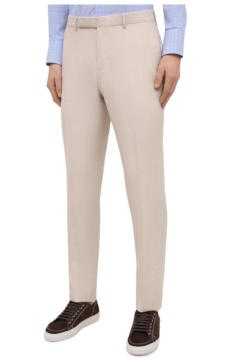 Мужские брюки из шерсти и льна ERMENEGILDO ZEGNA светло-бежевого цвета, арт. 915F01/75TB12   Фото 3 (Материал внешний: Шерсть, Лен; Длина (брюки, джинсы): Стандартные; Случай: Повседневный; Материал подклада: Вискоза; Стили: Кэжуэл)