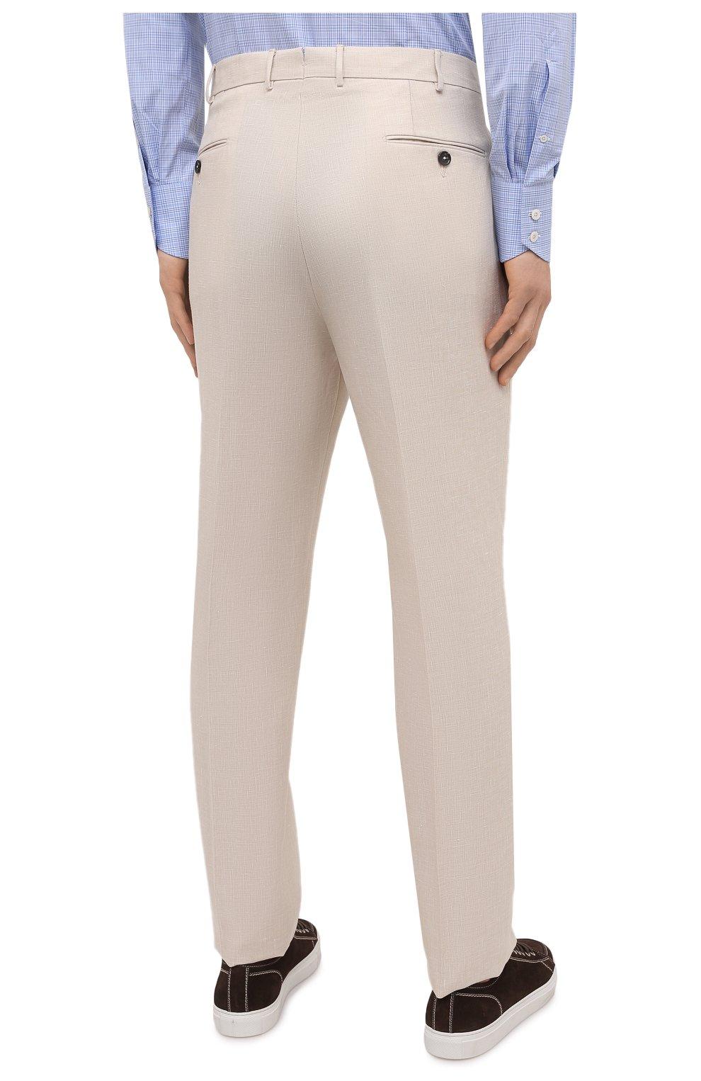 Мужские брюки из шерсти и льна ERMENEGILDO ZEGNA светло-бежевого цвета, арт. 915F01/75TB12   Фото 4 (Материал внешний: Шерсть, Лен; Длина (брюки, джинсы): Стандартные; Случай: Повседневный; Материал подклада: Вискоза; Стили: Кэжуэл)