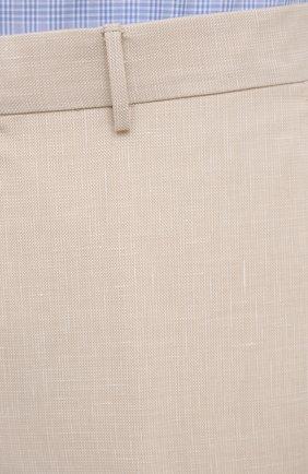 Мужские брюки из шерсти и льна ERMENEGILDO ZEGNA светло-бежевого цвета, арт. 915F01/75TB12   Фото 5 (Материал внешний: Шерсть, Лен; Длина (брюки, джинсы): Стандартные; Случай: Повседневный; Материал подклада: Вискоза; Стили: Кэжуэл)