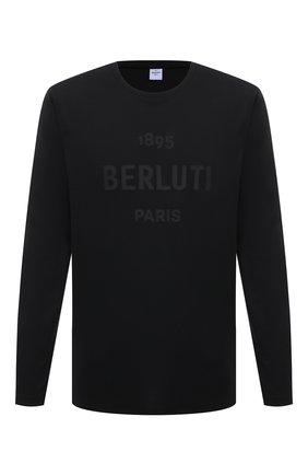 Мужская хлопковый лонгслив BERLUTI черного цвета, арт. R19JRL52-002 | Фото 1
