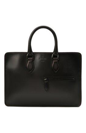 Мужская кожаная сумка для ноутбука BERLUTI темно-серого цвета, арт. M204772   Фото 1