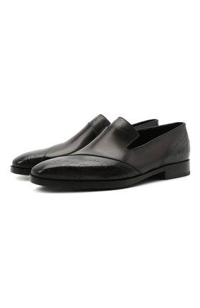 Мужские кожаные лоферы BERLUTI темно-серого цвета, арт. S5392-001 | Фото 1