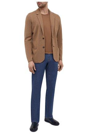 Мужские кожаные слипоны DOUCAL'S темно-синего цвета, арт. DU2840MANAUF002BB02   Фото 2
