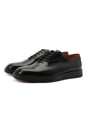 Мужские кожаные оксфорды SANTONI черного цвета, арт. MGMB17484NEAEPWEN01 | Фото 1