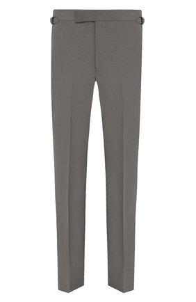 Мужские брюки из шелка и льна TOM FORD зеленого цвета, арт. 976R24/610043   Фото 1