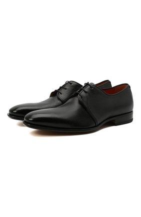Мужские кожаные дерби SANTONI черного цвета, арт. MCLE17468LA1ESLQN51 | Фото 1