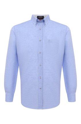 Мужская рубашка из хлопка и льна PAUL&SHARK голубого цвета, арт. 21413002/F5H | Фото 1
