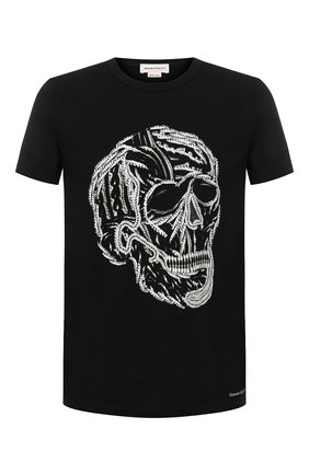 Мужская хлопковая футболка ALEXANDER MCQUEEN черного цвета, арт. 631391/QPZ87 | Фото 1 (Рукава: Короткие; Длина (для топов): Стандартные; Принт: С принтом; Материал внешний: Хлопок; Стили: Панк)