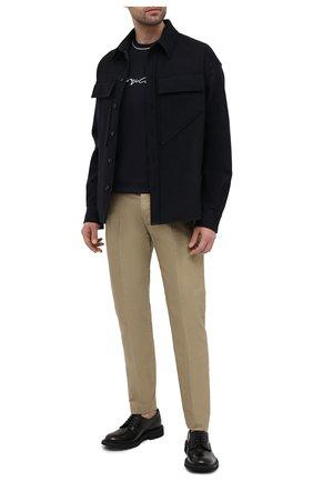 Мужская хлопковая футболка GIORGIO ARMANI синего цвета, арт. 3KSM72/SJRQZ | Фото 2 (Длина (для топов): Стандартные; Материал внешний: Хлопок; Рукава: Короткие; Принт: С принтом; Стили: Кэжуэл)