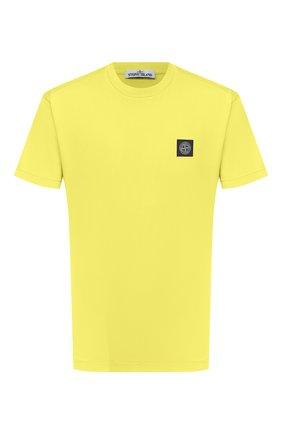 Мужская хлопковая футболка STONE ISLAND желтого цвета, арт. 741524113 | Фото 1