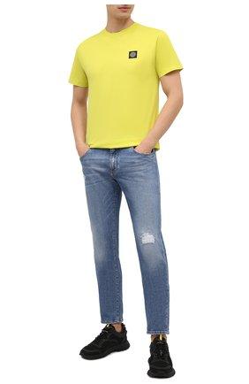 Мужская хлопковая футболка STONE ISLAND желтого цвета, арт. 741524113 | Фото 2