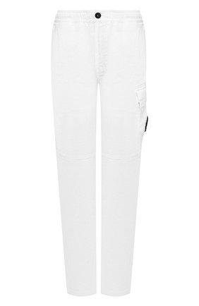 Мужские льняные брюки-карго STONE ISLAND белого цвета, арт. 741531601 | Фото 1