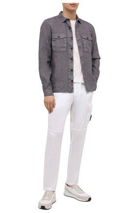 Мужские льняные брюки-карго STONE ISLAND белого цвета, арт. 741531601 | Фото 2