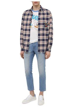 Мужская футболка изо льна и хлопка disney  x gucci GUCCI белого цвета, арт. 645302/XJC8W | Фото 2 (Стили: Гранж; Принт: С принтом; Длина (для топов): Стандартные; Рукава: Короткие; Материал внешний: Лен, Хлопок)