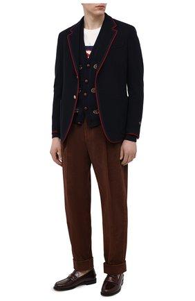 Мужские хлопковые брюки GUCCI коричневого цвета, арт. 643877/Z8AM8 | Фото 2