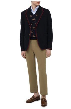 Мужские хлопковые брюки GUCCI бежевого цвета, арт. 639398/ZAF7Y | Фото 2