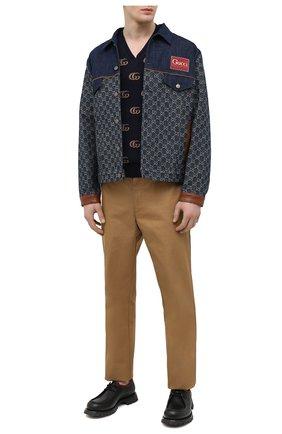 Мужские кожаные дерби GUCCI черного цвета, арт. 643721/DTN90 | Фото 2