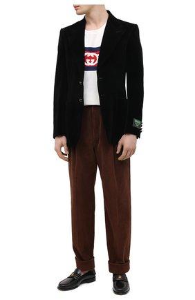 Мужские кожаные лоферы GUCCI черного цвета, арт. 644724/17X10 | Фото 2