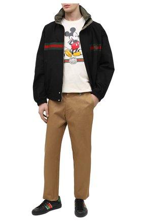 Мужские кожаные кеды ace GUCCI черного цвета, арт. 644749/1XGM0 | Фото 2