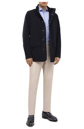Мужские кожаные монки SANTONI синего цвета, арт. MCC017500MC4HNGWU60 | Фото 2 (Стили: Классический; Материал внутренний: Натуральная кожа)