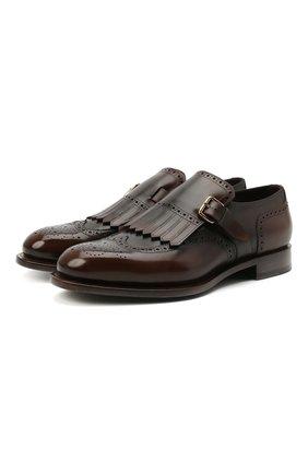 Мужские кожаные монки SANTONI темно-коричневого цвета, арт. MCC017501MC3HNGWT50 | Фото 1 (Стили: Классический; Материал внутренний: Натуральная кожа)
