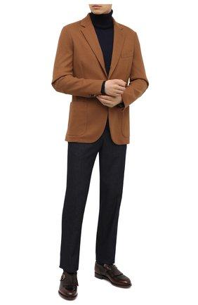 Мужские кожаные монки SANTONI темно-коричневого цвета, арт. MCC017501MC3HNGWT50 | Фото 2 (Стили: Классический; Материал внутренний: Натуральная кожа)