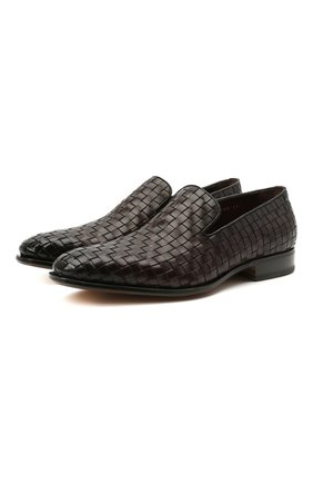 Мужские кожаные лоферы SANTONI темно-коричневого цвета, арт. MCLE17576LA1SMEDT50 | Фото 1 (Стили: Классический; Материал внутренний: Натуральная кожа)