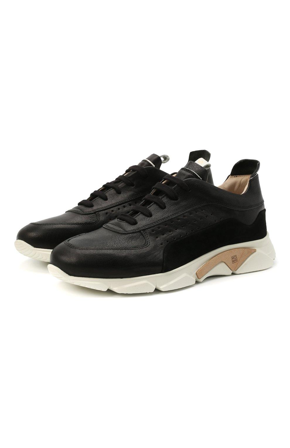 Мужские кожаные кроссовки MOMA черного цвета, арт. 4AS018-CT   Фото 1 (Материал внутренний: Натуральная кожа; Подошва: Массивная)