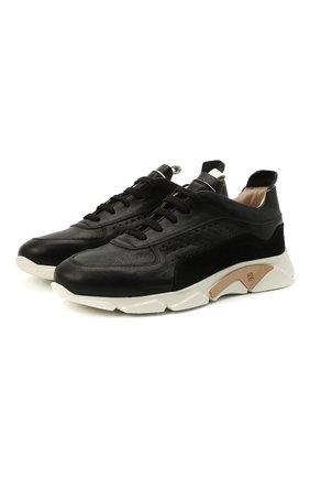 Мужские кожаные кроссовки MOMA черного цвета, арт. 4AS018-CT | Фото 1
