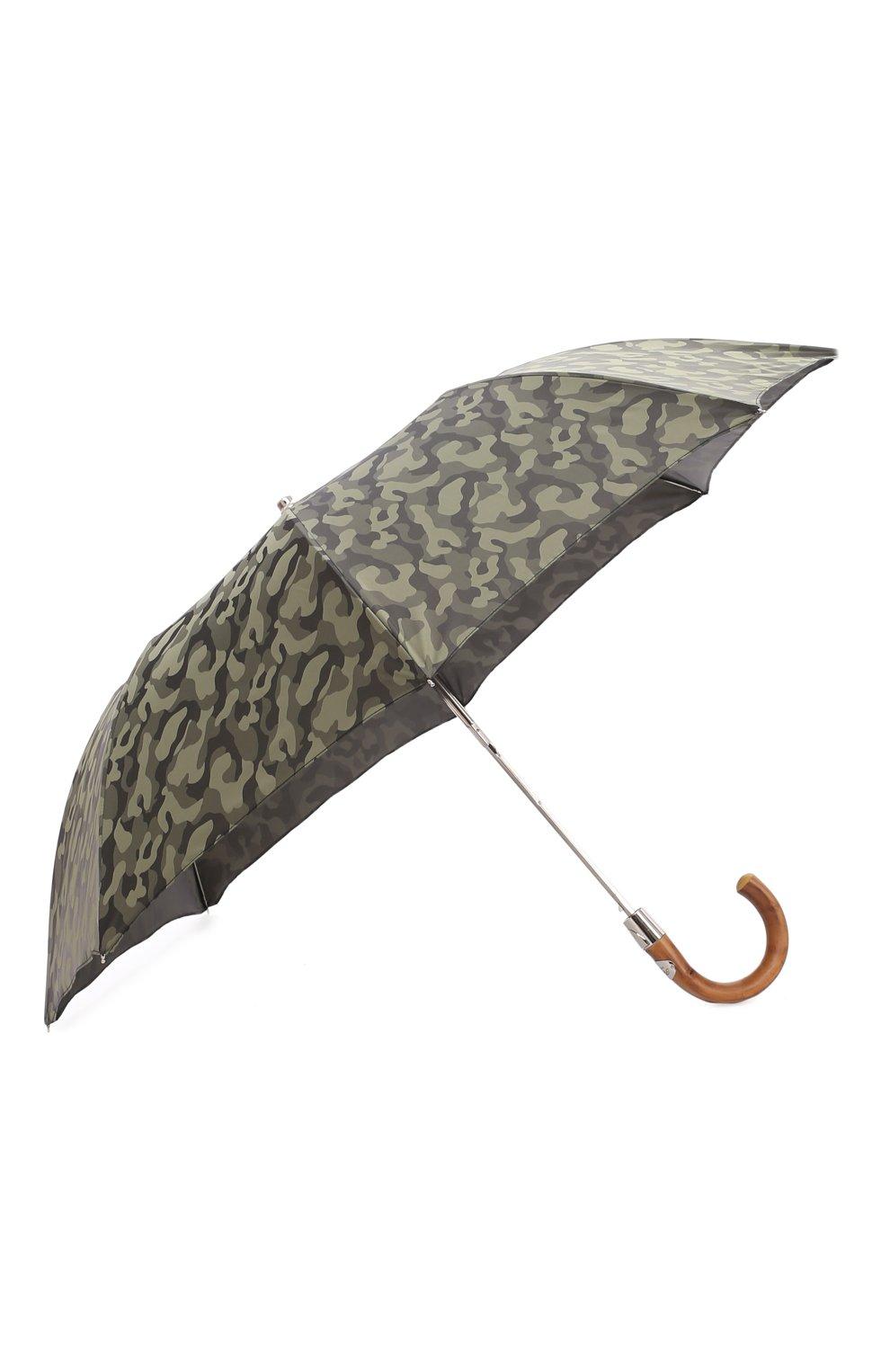 Мужской складной зонт PASOTTI OMBRELLI хаки цвета, арт. 64S/MILITARE 11780/254/T0PLESS | Фото 2 (Материал: Текстиль, Синтетический материал, Металл)