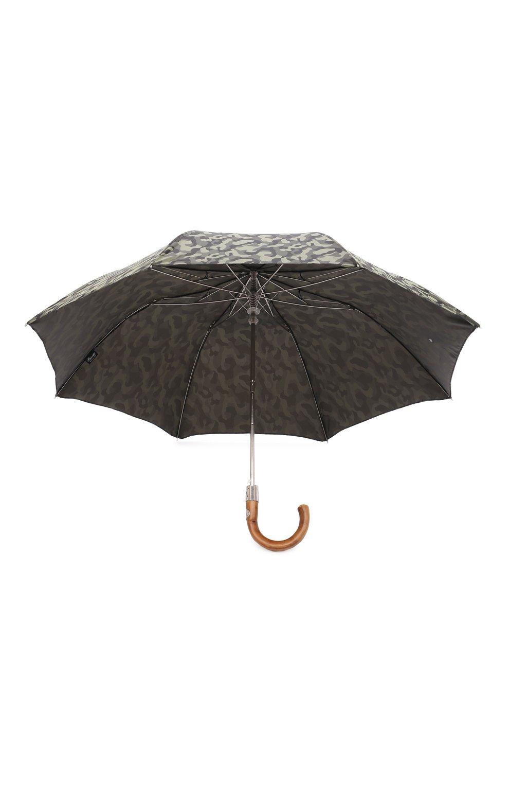 Мужской складной зонт PASOTTI OMBRELLI хаки цвета, арт. 64S/MILITARE 11780/254/T0PLESS | Фото 3 (Материал: Текстиль, Синтетический материал, Металл)