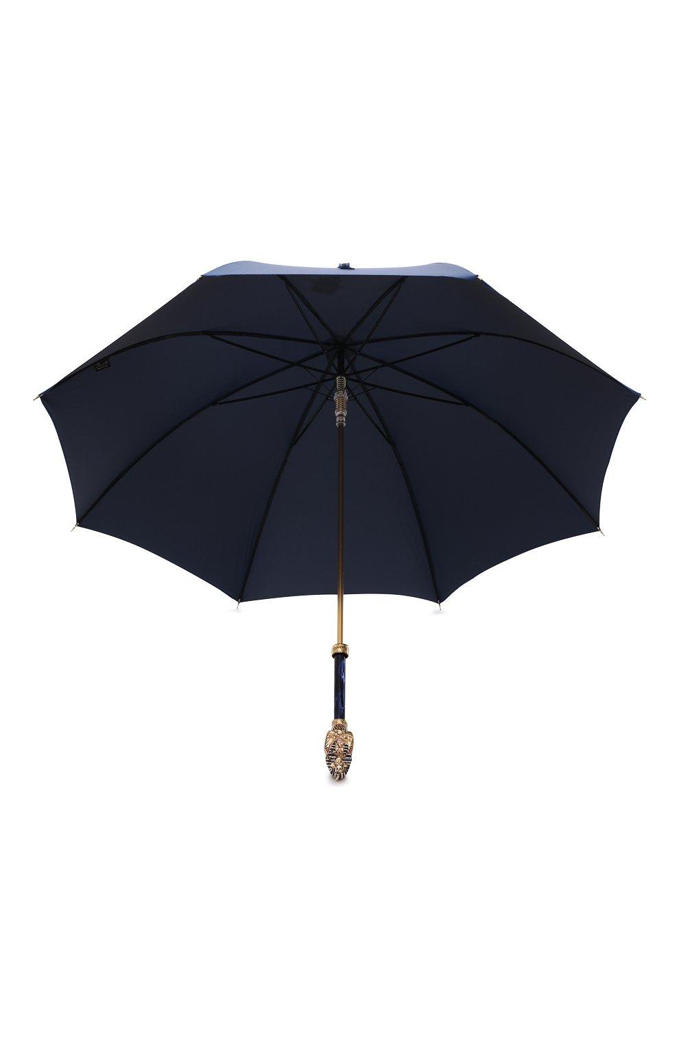 Мужской зонт-трость PASOTTI OMBRELLI темно-синего цвета, арт. 479/RAS0 0XF0RD/8/K68 | Фото 3 (Материал: Текстиль, Синтетический материал, Металл)