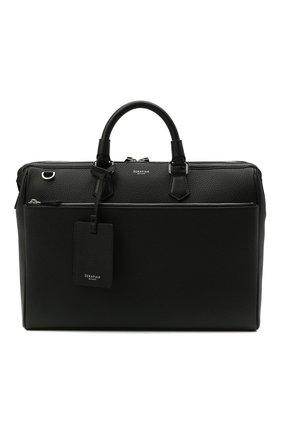 Мужская кожаная сумка для ноутбука SERAPIAN черного цвета, арт. SRCCHMLL621838B | Фото 1