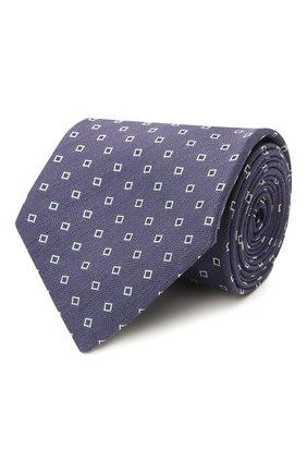 Мужской галстук из шелка и льна BRIONI фиолетового цвета, арт. 062H00/P0434 | Фото 1 (Материал: Лен, Текстиль, Шелк; Принт: С принтом)
