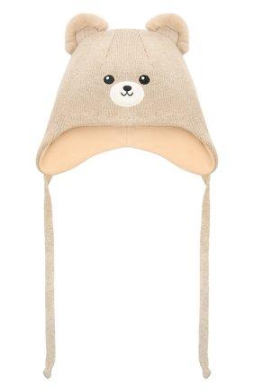 Детского шерстяная шапка CHOBI бежевого цвета, арт. WH-3090 | Фото 1